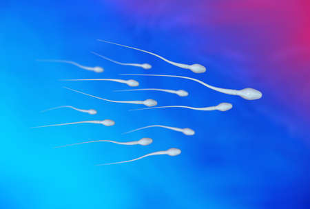 gametes: Sperm - spermatozoa - sperm cells moving to the right on blue backgroundcell
