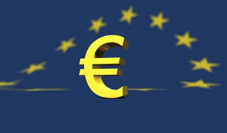 european euro: Yellow euro sign or symbol placed on european flag in blue with yellow stars Stock Photo
