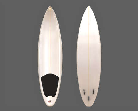shaping: Two blank surfboards front and bottom view with fins, finpplug, and pad. Stock Photo