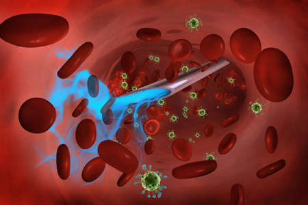 injected: Blue liquid injected into the bloodstream with a syringe from the inside with blood and green virus cells.
