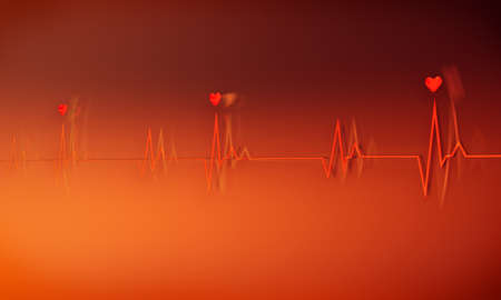 palpitations: Image of a dramatic electrocardiogram in red and orange with heart symbol on peak