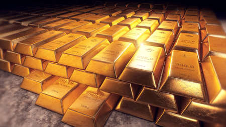 Stacked gold bars or bullions with reflections Stockfoto
