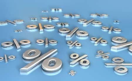 dozen: A dozen metal percentage signs or symbols on a blue reflective surface
