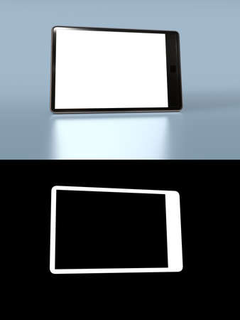 alpha: Tablet personal computer in black with edge standing on reflective surface with a blank screen and alpha channel