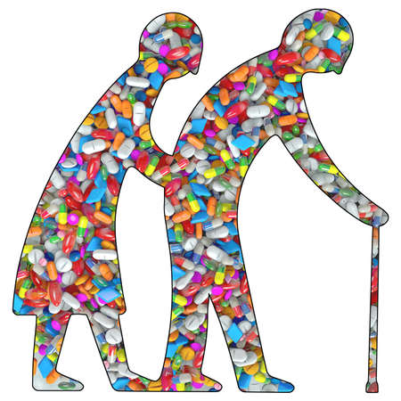 3d Illustration silhouette of a old couple filled with drugs or medication pills Stock Photo