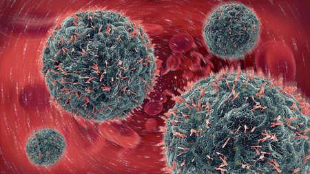 血液中にウイルスの細胞を攻撃する抗体の 3 d イラストレーション