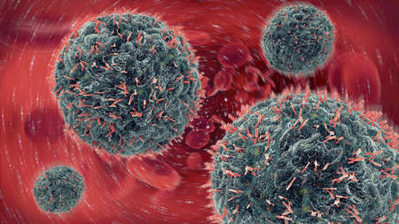 혈류로 바이러스 세포를 공격하는 항체의 3d 일러스트 스톡 콘텐츠