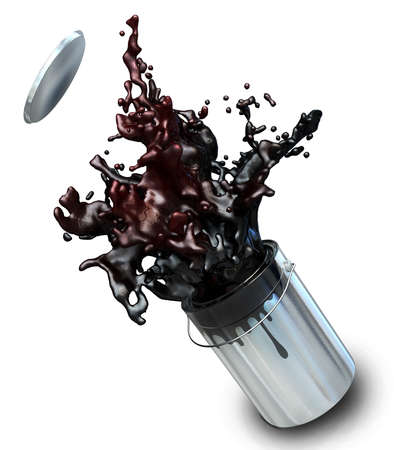 busting: 3d illustration of black paint busting from a paint buckets