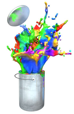 tin: 3d illustration of colorful paint busting from a paint buckets