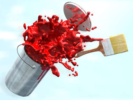 busting: 3d illustration of red paint busting from a paint buckets