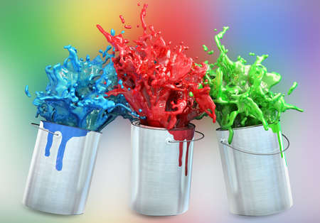 tin: 3d illustration of different colors splashing from paint buckets
