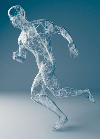 3d illustration of a human shaped transparent sculture of a running man
