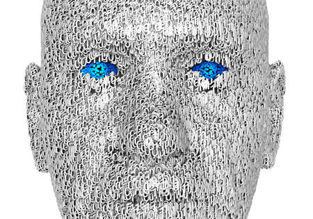 head protection: 3d illustration of  a human face composed of zeroes and ones