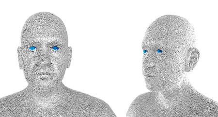 programming code: 3d illustration of  a human face composed of zeroes and ones