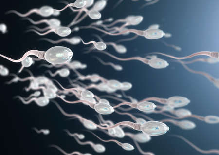 3d illustration of sperm cells moving to the right Imagens