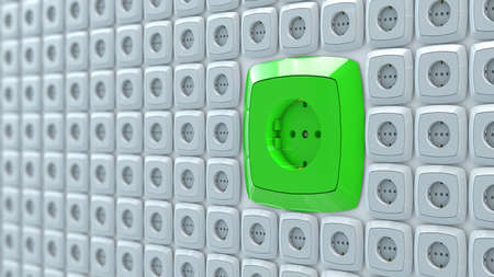 connection connections: 3d illustration of wall power plug sockets with big green ac power socket
