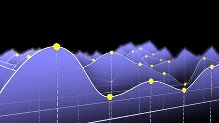 curve: 3D illustration of a curve chart or line graph