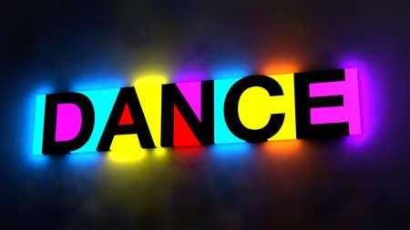 3d illustratie van de kleurrijke en gloeiende letters van het woord dans