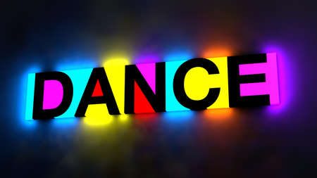 3d illustration of the colorful and glowing lettering of the word dance Banque d'images