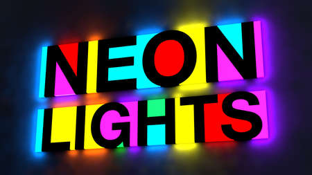 pink and black: 3d illustration of the colorful and glowing lettering of the words neon lights Stock Photo