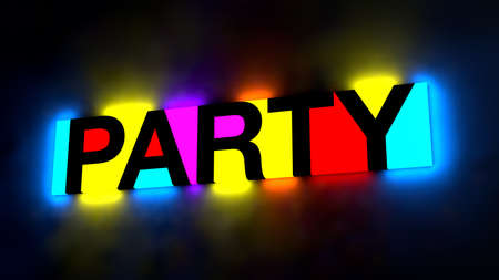 pink and black: 3d illustration of the colorful and glowing lettering of the word party