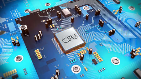 3d illustration of a computer processor on circuit board