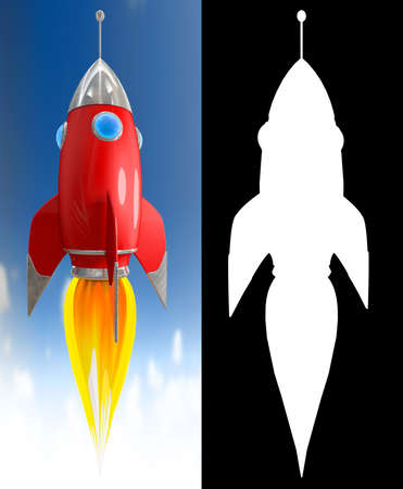 countdown: Illustration of a starting red cartoon rocket on blue sky with alpha channel
