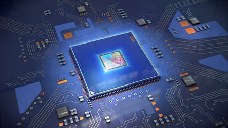 Illustration of a computer processor in bright blue on circuit board