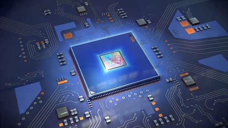 Illustration d'un processeur d'ordinateur en bleu vif sur la carte de circuit imprimé