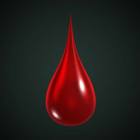 reflection: 3D Illustration of a red drop of blood