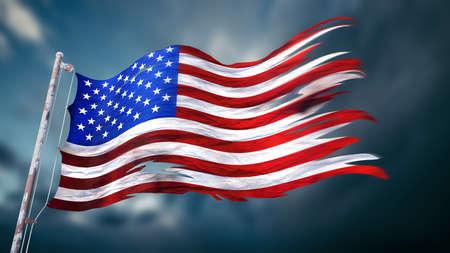 미국의 찢어진 및 찢어진 된 플래그의 3d 일러스트 명시 어두운 흐린 하늘 앞의 미국