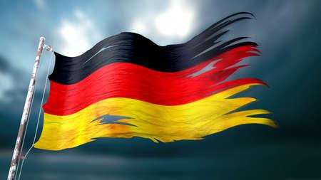 어두운 흐린 하늘 앞의 독일의 찢어진 및 찢어진 국기의 3d 일러스트