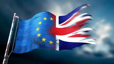 欧州連合、イギリスのリッピングと引き裂かれた旗の 3 d イラストレーション