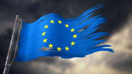 어두운 흐린 하늘 앞의 유럽 연합의 찢어진 및 찢어진 국기의 3d 일러스트 스톡 콘텐츠