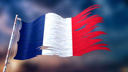 3d illustration of a ripped and torn flag of France in front of a dark cloudy sky Stock Photo