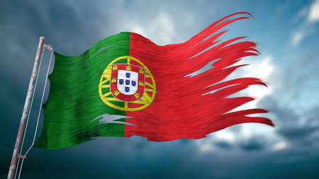 3d illustration of a ripped and torn flag of Portugal in front of a dark cloudy sky
