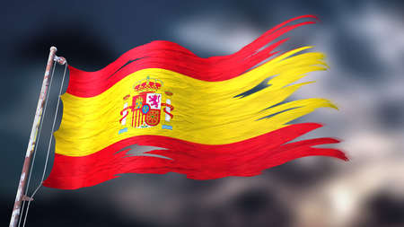 3d illustration of a ripped and torn flag of Spain in front of a dark cloudy sky Stock Photo
