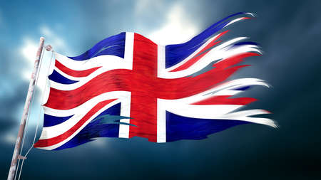 3d illustration of a ripped and torn flag of the united kingdom in front of a dark cloudy sky Stock Photo