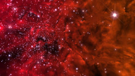 Illustration of a fictitious star-field, nebulae, sun and galaxies