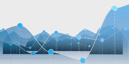 곡선 차트 또는 선 그래프의 3D 일러스트
