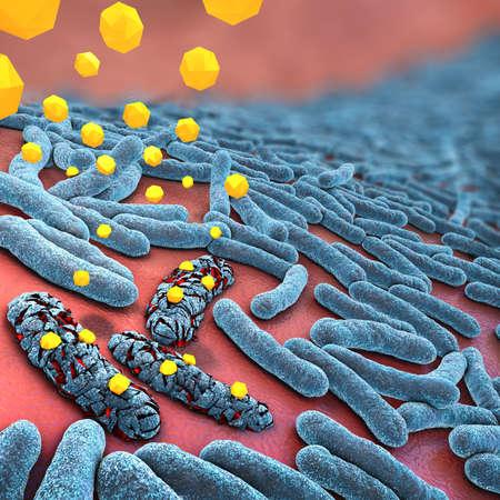 3d illustration of antibiotics destroying bacteria