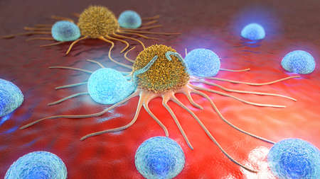 암 세포와 림프구의 3d 일러스트 스톡 콘텐츠