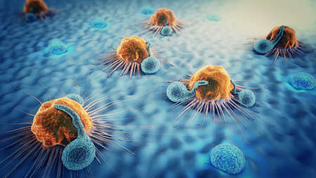 3d illustration of cancer cells and lymphocytes Stockfoto