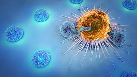 3d illustrazione di una cellula tumorale e linfociti Archivio Fotografico - 87551986
