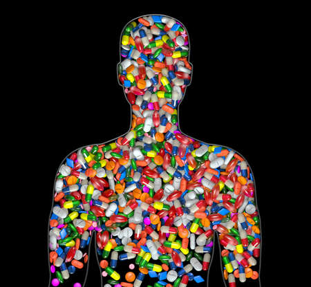 3d Illustration silhouette of a male human filled with drugs or medication pills