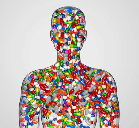 junkie: 3d Illustration silhouette of a male human filled with drugs or medication pills