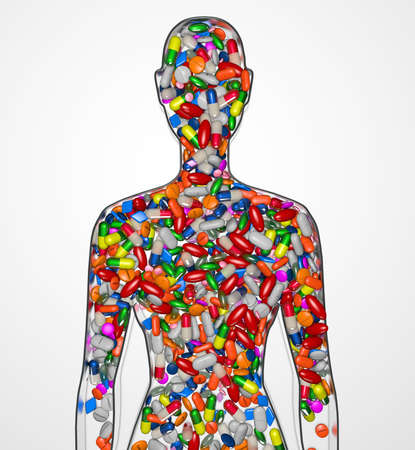 3d Illustration silhouette of a female human filled with drugs or medication pills Stock Photo