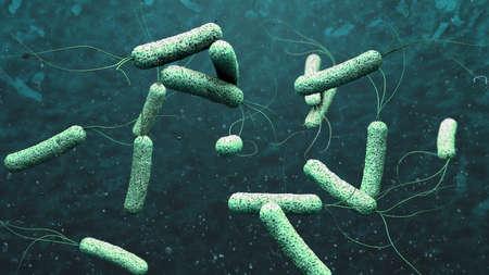 3d illustration of cholera pathogens in dark green water