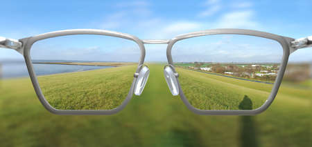3D Illustration of clear vision through glasses Stock Photo