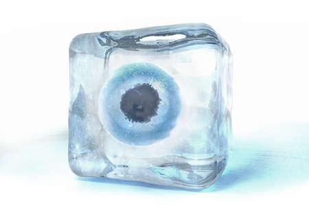 Illustrazione 3D di una cellula uovo congelata nel cubetto di ghiaccio